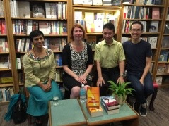 Rosemarie, Felix and William at the Grassroots Bookshop